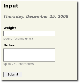Daily weight input form
