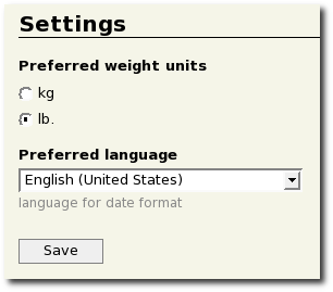 Setting preffered weight units and date fromat